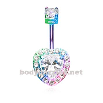 Colorline Brilliant Heart Sparkle Belly Button Ring Stainless Steel Body Jewelry