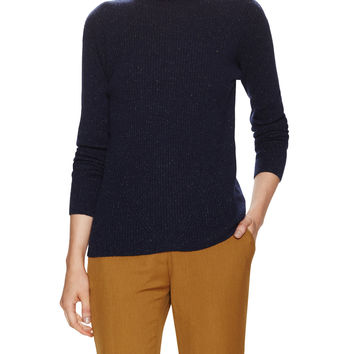 See by Chloe Women's Ribbed Speckle Turtleneck Sweater - Navy -