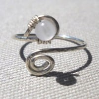 Rose Quartz Wrapped Silver Wire Spiral Toe Ring Adjustable Size