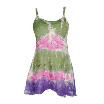 Mogul Women's Tunic Top Tie-Dye Green Sexy Beach Wear Dresses Tank Top XS - Walmart.com
