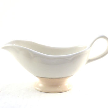 Cream Pitcher, Gravy Boat, Vintage Home Laughlin Ceramic Pink and White Silver Band Glass Creamer