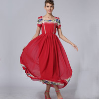 Summer Women Casual Loose Chinese Style bohemian beach Fashion Red