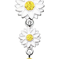 Beach Sunflower Reverse Belly Button Ring