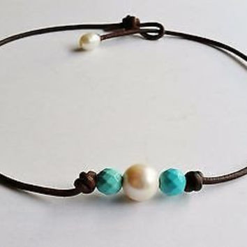 three turquoise necklace,turquoise leather necklace,three pearl necklace,turquoise and pearl necklace,pearl and turquoise leather necklace