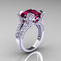 Persephone - French Vintage 14K White Gold 3.0 CT Raspberry Red Garnet Diamond Pisces Wedding Ring Engagement Ring Y228-14KWGDRRG