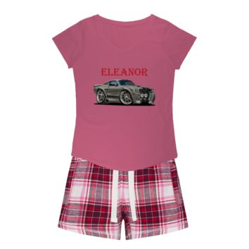 1967 Ford Mustang Shelby GT500 Eleanor Girls Sleepy Tee and Flannel Short