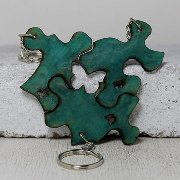 Puzzle Key chain set 3 piece Teal leather