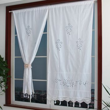 Handmade Cotton Crochet Lace Curtain Hollow Flower Shower Curtain 27 By 59-Inch, White