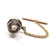 Faux Pearl Tie Tack, Vintage Tie Tack, Gold Tone Knot, Small Tie Tack, Wedding Jewelry, Groom Accessories, Best Man Groomsman Gift