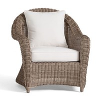 TORREY ALL-WEATHER WICKER ROLL ARM OCCASIONAL CHAIR - NATURAL