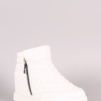 Quilted Zipper High Top Wedge Sneaker