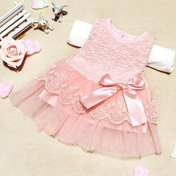 Sweet Girl Kids Flower Princess Party Lace Dress Gown Wedding Prom Dress for beautiful litter girls