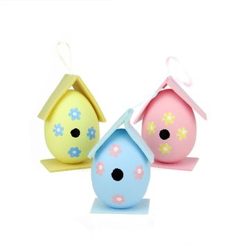 Set of 3 Pink  Yellow and Blue Decorative Painted Design Spring Easter Egg Birdhouse Ornaments 4.25""
