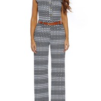 Casual Black White Band Collar Belt Geometric Wide-Leg Jumpsuit