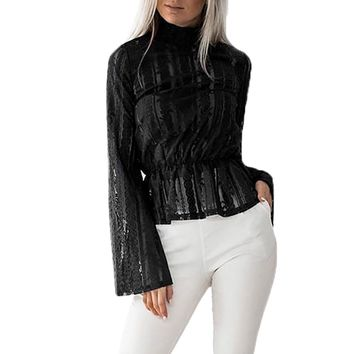 Women Sexy Transparent Lace Blouse Fashion Long Flare Sleeve Tops Turtleneck Shirt Peplum Blusa #L