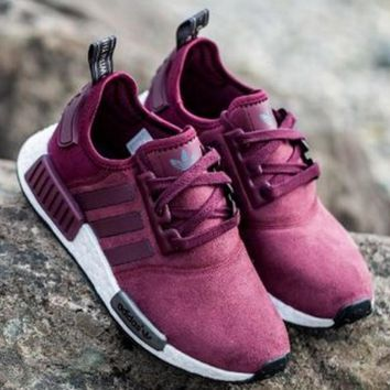"Women ""Adidas"" NMD Boost Casual Sports Shoes Wine red"