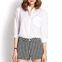 FOREVER 21 High-Waisted Houndstooth Shorts Black/White 30