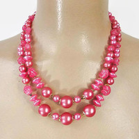Vintage 50s Bead Necklace | 1950s PINK Necklace | Pink Pearls | Choker Necklace | Statement Necklace | Mid Century Necklace | Vtg Jewelry