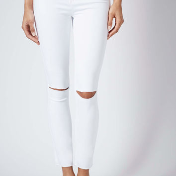 MOTO White Ripped Leigh Jeans - Topshop