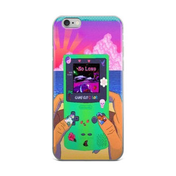 Girls & Gameboy's Cute Girly Girls Video Games Gameboy Color Teen Vaporwave Purple Pink Blue & Lime Green iPhone 4 4s 5 5s 5C 6 6s 6 Plus 6s Plus 7 & 7 Plus Case
