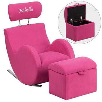 Personalized HERCULES Series Pink Fabric Rocking Chair with Storage Ottoman