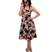 1950s Style Black & Red Pixelated Floral Susie Halter Swing Dress