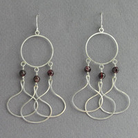 Long Dangle Earrings - Chandelier Earrings - Drops Earrings - Sterling Silver Wire with Red Garnet