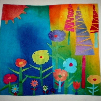 Handmade Art Quilt Spring Garden Textile Wall Hanging Collage Applique One Of A Kind