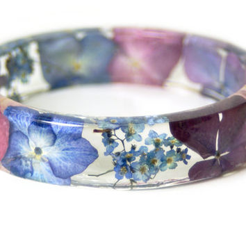 Real Flower Jewelry- Flower Jewelry- Jewelry with Real Flowers- Pink Flowers- Blue Bracelet -Resin Jewelry- Pink Bracelet