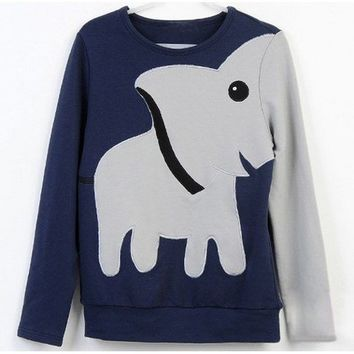 Elephant Pattern Hoody Tee For Women