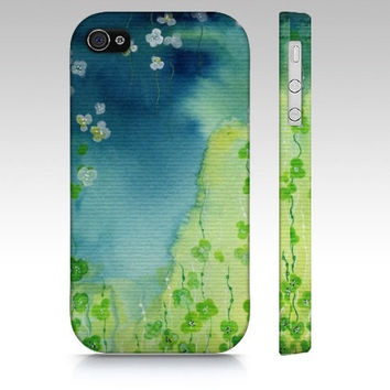 Deep Down - iPhone4 Case cellphone cover green vines seaweed waterlilies hanging flowers watercolor art painting phone hard-case Oladesign