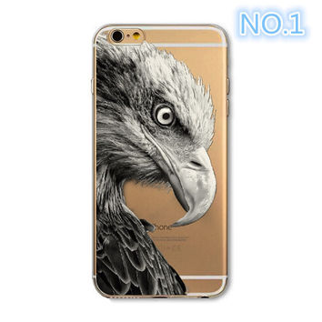 2017 New Phone Case For Apple iPhone 6 6S 6Plus 6s Plus 4 4S 5 5S SE Soft TPU Silicon Transparent Cover Cute Cat Owl Animal Phone Cases -0329