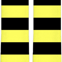Wasp stripes knee high socks, thick stripes themed accessory, yellow, black lines