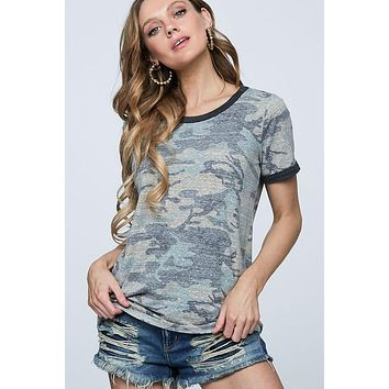Casual Camo Top - Olive