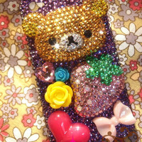 SALE Adorable Rilakkuma Bling Bling Deco Rhinestone Case for iPhone 4