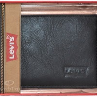 Levi's Leather Wallet Black Logo Genuine Bifold Men Billfold Passcase Levis