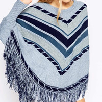 Blue Stripe Long-Sleeve Fringed Cape Shirt