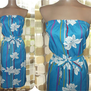 Vintage 80s Hilo Hattie Strapless Hawaiian Sun Dress Blue & White Tropical Print XL