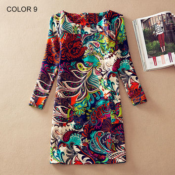 Women Winter dresses  long sleeve Fall Dresses Ladies Vintage Floral Print Women Dress Casual Autumn Dress Plus size Clothes