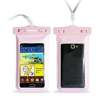 "DandyCase Pink Waterproof Case for Apple iPhone 5S / 5 / 5C, Galaxy S4, HTC One, iPod Touch 5 - Also fits other Large Smartphones up to 5.3"" Including Galaxy S3, HTC One X/X+, Droid RAZR/MAXX, Nexus 4, EVO 4G LTE, Droid Incredible, LG Optimus G, Nokia Lumi"