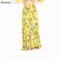 Misszonee women long skirts Boho style floral print bottoms summer beach maxi skirt Elastic vintage chic sexy