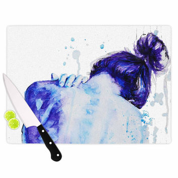 "Cecibd ""Blue"" Aqua Watercolor Cutting Board"