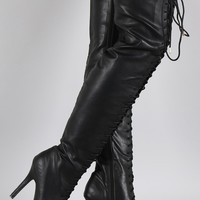 Dollhouse Almond Toe Lace Up Stiletto Over-The-Knee Boots