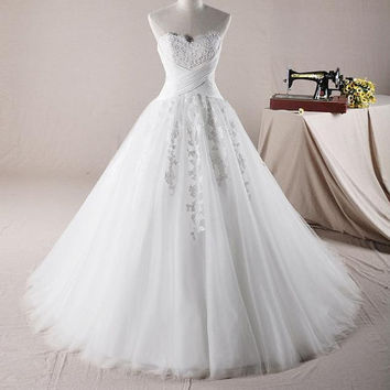 A-line Strapless Court Train Organza Satin Wedding Dress