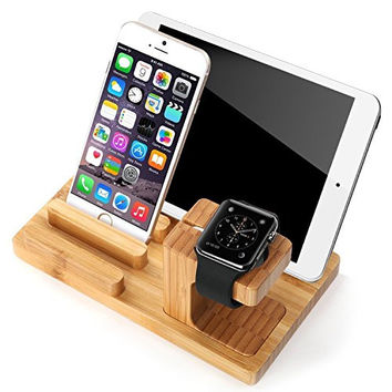 JUNCHI Wooden Wood Charge Dock Holder for Apple Watch and Docking Station Cradle Bracket for iPod iPhone iPad and Smartphones and Tablets(Light Brown)