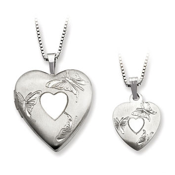 925 Sterling Silver Butterfly Heart Mother Daughter Necklace Set