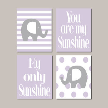 Elephant Nursery WALL ART Decor Lavender Lilac Grey Baby Girl Elephant You Are My Sunshine Nursery Wall Picture Set of 4 Prints Or Canvas