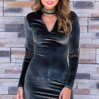 Mena Velvet Bodycon Long Sleeve Dress- Olive