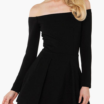 Black Off Shoulder Long Sleeve Skater Dress