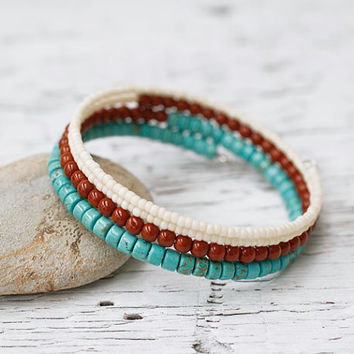 Turquoise Blue Umber Brown Cream Memory Wire Bracelet, Coil Bracelet, Wire Wrap Bangle, Southwestern Bohemian Jewelry